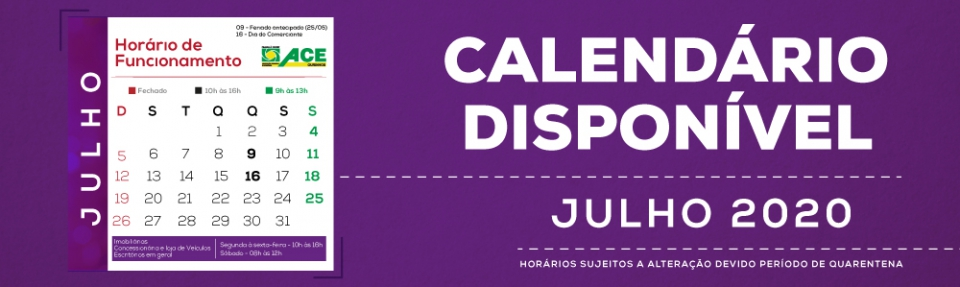 Calendário Julho de 2020